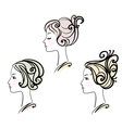 portrait of three female with stylised hairstyles vector image vector image