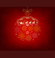 red background with santa claus on deer vector image