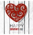Red handmade heart on wooden background Valentines vector image