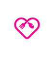 romantic food logo icon design vector image vector image