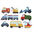 set cartoon cars collection stylized cars vector image vector image