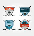 set colorful hockey logos vector image