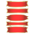 set of 5 red ribbon banners vector image vector image