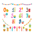 Set of birthday party design elements with numbers