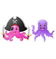 set of octopus cartoon vector image vector image