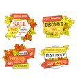 shopping signs with info about sales price tags vector image