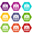 sport uniform icon set color hexahedron vector image