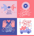 st valentine s greeting cards set abstract modern vector image vector image