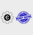 stroke euro gear icon and grunge money vector image vector image