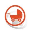 Stroller sign sticker orange vector image