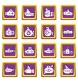 submarine icons set purple square vector image vector image