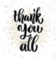 thank you all hand drawn motivation lettering vector image vector image