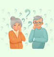 thinking seniors couple confused elderly people vector image vector image