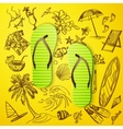 thongs and hand draw tourist icon vector image vector image