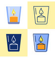 votive candle icon set in flat and line style vector image