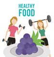women with barbell dumbbell and grapes health food vector image
