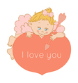 I love you card Valentines Day with Cupid vector image