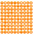 100 autumn holidays icons set orange vector image