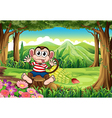 A bloated monkey above the stump at the forest vector image vector image