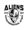 alien head black emblem in vintage style vector image vector image