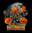 angel death halloween pumpkin head with crow vector image vector image
