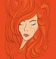 beautiful face of a red-haired girl in wavy hair vector image