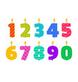 birthday candle set in the shape vector image vector image