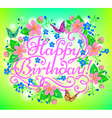 birthday flowers greeting vector image