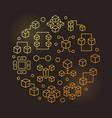 blockchain round line golden modern vector image
