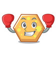 boxing hexagon character cartoon style vector image vector image