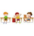 Boys and girl sitting on their desks vector image
