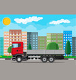cargo delivery truck with platform on city street vector image