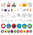 cartoon and white magic cartoon icons in set vector image