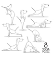 Cartoon dogs show 8 yoga poses vector image vector image