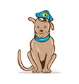 Cartoon police dog with cap sitting vector image vector image
