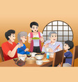 chinese family eating together at home vector image vector image