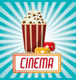 cinema pop corn tickets blue stripes background vector image vector image