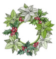 colorful christmas wreath with berries and plants vector image