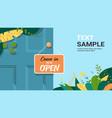 come in we are open advertising sign hanging door vector image vector image