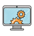 computer display with gears vector image vector image