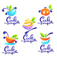 cook soup collection bowl full tasty soup vector image vector image