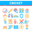 cricket game collection elements icons set vector image vector image