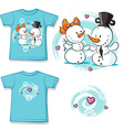 cute snowman in love shirt vector image