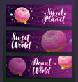 donut shop creative advertising banners set sweet vector image vector image