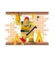 Fire man character with baby vector image