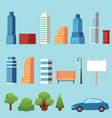 flat city urban objects set vector image vector image