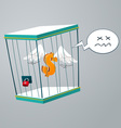 flying dollar trapped in a cage vector image vector image