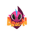 funny purple dragon with big eyes cartoon vector image vector image