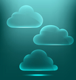 Glassy infographic clouds icons on cyan vector image