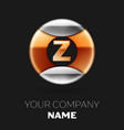 golden letter z logo in silver-golden circle vector image